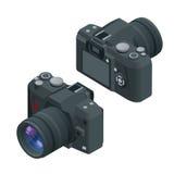 2台照相机数字式查出的照片支持白色 Slr照相机 平的3d照相机的传染媒介等量例证 免版税库存照片