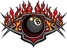 台球八球火焰状设计模板 皇族释放例证