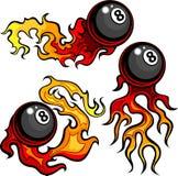 台球八球火焰状设计模板 向量例证