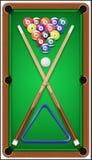 台球集合 Billard球、暗示和台球 免版税库存图片