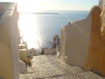 台阶向海洋 库存图片
