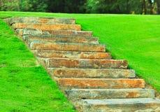台阶在公园弄脏 免版税库存照片