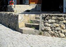 台阶在古城 免版税库存照片