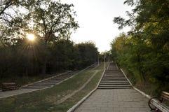 台阶在日落的一个公园 免版税库存图片