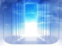 台阶在角落在天空场面的弯曲的框架退出 免版税库存照片