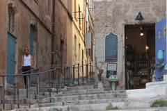 台阶在马赛Le Panier区  库存图片
