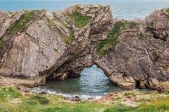 台阶孔,在Lulworth附近在多西特,英国 免版税库存照片