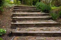 台阶由木头制成在公园 库存照片