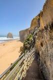 台阶的下降对海滩的向在附近的太平洋 免版税库存图片