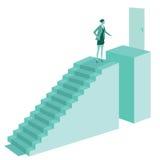 台阶顶部妇女 免版税库存照片