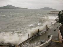 台风剧烈地击中香港的Hagupit 图库摄影