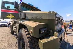 台风家庭的多功能,模件装甲车URAL-63095 免版税库存照片