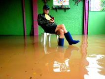 台风造成的洪水马力欧(国际名字Fung越共)在2014年9月19日的菲律宾 图库摄影
