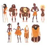 史前人集合、原始石器时代、当地男人和妇女在动物兽皮卡通人物传染媒介例证中 库存例证