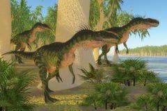 史前侏罗纪单脊龙恐龙 免版税库存照片