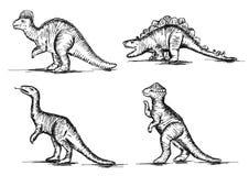 史前侏罗纪恐龙爬行动物剪影传染媒介 免版税库存照片