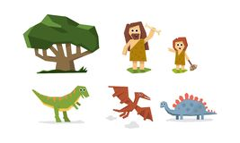 史前石器时期、逗人喜爱的几何原始石器时代的穴居人、孩子和恐龙传染媒介例证 皇族释放例证