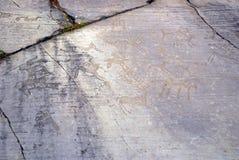 史前石雕刻,瓦尔Camonica意大利 免版税库存照片