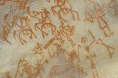 史前石洞壁画在Bhimbetka -印度。 免版税库存照片