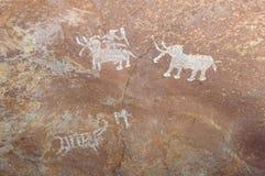史前石洞壁画在Bhimbetka -印度。 库存图片