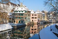 史特拉斯堡城镇冬天 库存图片