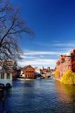 史特拉斯堡老镇小的法国历史的地区在春天或秋天晴天 免版税库存照片