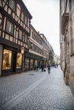史特拉斯堡,法国街道的人们  免版税库存照片
