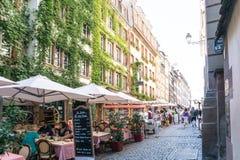 史特拉斯堡,法国- 8月23 :街道视图传统hous 库存图片