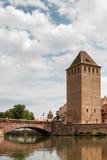 史特拉斯堡, FRANCE/EUROPE - 7月17日:在一条运河的桥梁在Str 免版税库存图片
