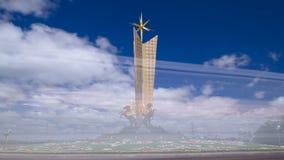 史特拉阿斯塔纳`星  在机场哈萨克斯坦timelapse hyperlapse附近的`阿斯塔纳, 阿斯塔纳卡扎克斯坦 股票录像