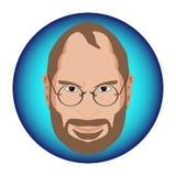 史蒂夫・乔布斯的壮观的讽刺画设计一个蓝色圈子的 免版税库存图片