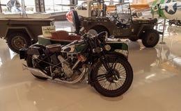 史蒂夫McQueen's绿色1931年豹摩托车 库存图片