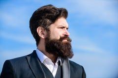 史诗胡子增长的指南 人有胡子的行家穿戴正装天空蔚蓝背景 葡萄酒样式长的胡子 ?? 库存图片