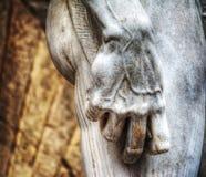 右手接近广场della标志的米开朗基罗的大卫 库存图片