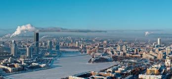 叶卡捷琳堡,俄罗斯空中全景  免版税库存照片