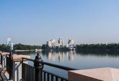 叶卡捷琳堡,俄罗斯- 8月, 04,2016 :对市中心Yeka的看法 免版税图库摄影
