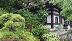 绿叶在白色寺庙之外从事园艺 库存图片