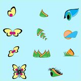叶子、植物、商标、生态、人们、健康、绿色、叶子、自然标志象套传染媒介设计和动画片 皇族释放例证
