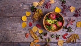 叶子、苹果和莓果的秋天安排在木背景与自由空间文本的 顶视图,概念  免版税库存图片