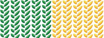 叶子和种子样式绿色和黄色 免版税图库摄影