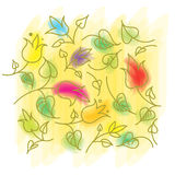 叶子和花颜色 图库摄影