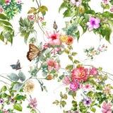 叶子和花,无缝的样式水彩绘画  库存照片