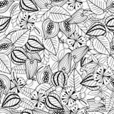 叶子和花 彩图的黑白例证 无缝的模式 皇族释放例证