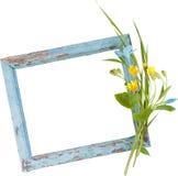 从叶子和蓝色和黄色花的框架 库存照片