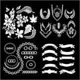 叶子和链子、丝带、象征和花圈-传染媒介集合 向量例证