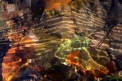 叶子在水中在秋天 免版税库存照片