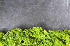 叶子在石桌的长叶莴苣沙拉 与拷贝空间的顶视图 库存照片
