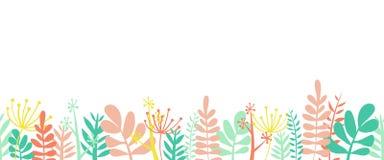 叶子夏天边界框架底部水平的无缝的传染媒介例证 花、叶子和词根装饰了边界 向量例证