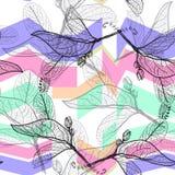 叶子染黑等高,明亮的蓝色淡紫色紫色绿色现代时髦背景 花卉无缝的样式,手拉 几何吸收 向量例证
