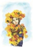 叶子的女孩 五颜六色的例证 拉长的例证 9月 秋天 免版税图库摄影